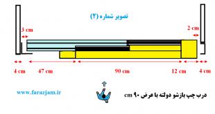 نحوه آهنکشی برای نصب درب آسانسور تمام اتوماتیک با عرض ۹۰ سانتی متر